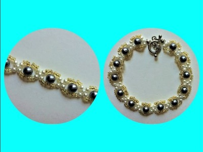 Beading project: pearls and seed beads pattern for bracelet (necklace)