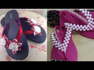 Beautiful DIY Slippers with Pearls and Fringes