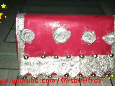 Bridal Clutch. Makeup Box.Bangle box {From biscuit Box}.DIY  ☺TRAILOR || MISBA AFROZ||