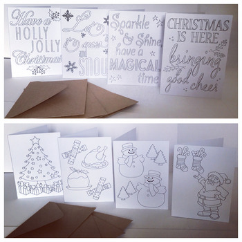 Christmas Cards, Colour Your Own, Kids Crafts, Each Pack Has 4 Designs, DIY*