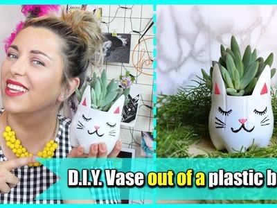 D.I.Y. Vase out of a plastic bottle - Vaso fai da te riciclando una bottiglia in plastica | Giugizu