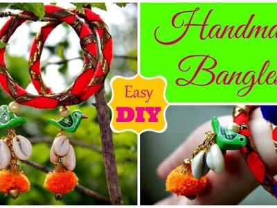 DIY Bangles making | Handmade Gota Bangles | Pompom and Parrot Dangler Bangles || Pompoms & Tassels