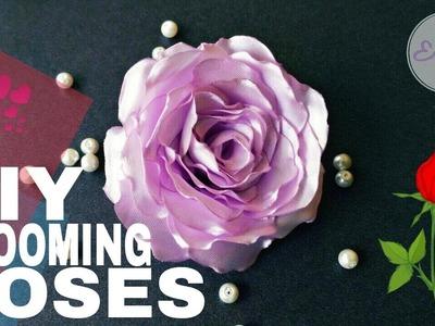 DIY Beautiful Blooming Roses With Satin Ribbon | by Elysia Handmade