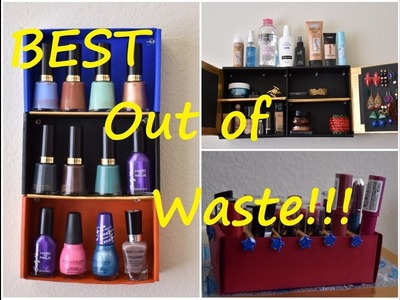 DIY: Best 4 Makeup Organizer tips using old Card Board boxes  | TheIndoWesternGirl