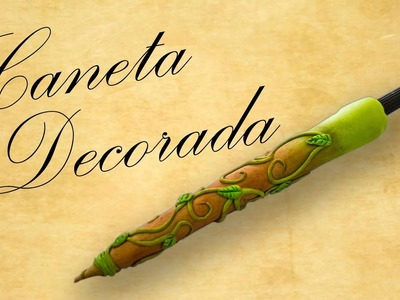DIY - Caneta Decorada com Biscuit. Pen Decorated with polymer clay
