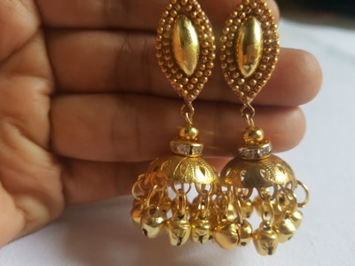 (DIY)HOW TO MAKE GOLDEN PARTY WEAR JHUMKA.THE STUNNING HANDMADE'S. ❤