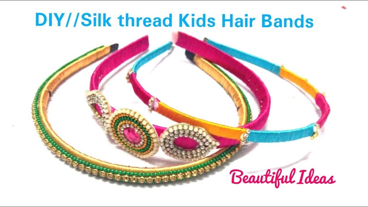 DIY.How to Make Silk thread Kids Hair Bands.Kids Old Hair Bands to Latest Silk thread Hair Bands.