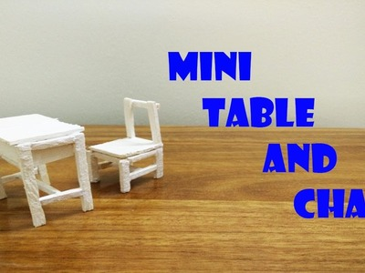 DIY Mini Classroom Tables and Chairs made out of popsicle stick -  miniature dollhouse