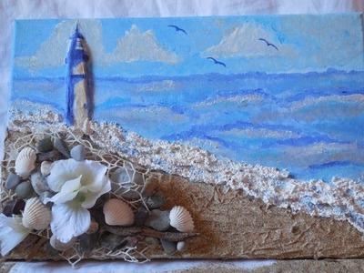 DIY-Mixed Media Beach Canvas-Decoupage su tela a rilievo.3D-Decoupage Beach on Canvas