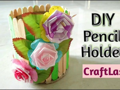 DIY Pencil Holder With Ice cream Sticks | Best From Waste | CraftLas