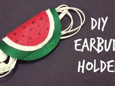 DIY Water Melon Earbuds Holder.DIY Back to school supplies.DIY Earphones holder