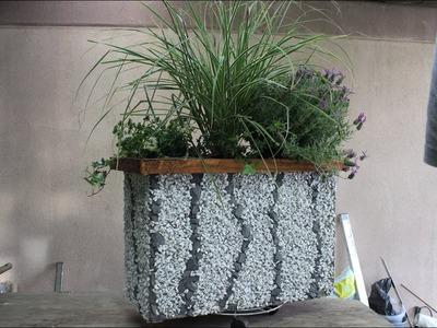 DIY XL Blumenkasten mit Steinen dekoriert.Flower box with stones decorated.saksi