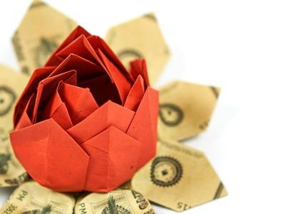 Dollar Bill Origami Flower: Folding a money flower, EASY INSTRUCTIONS