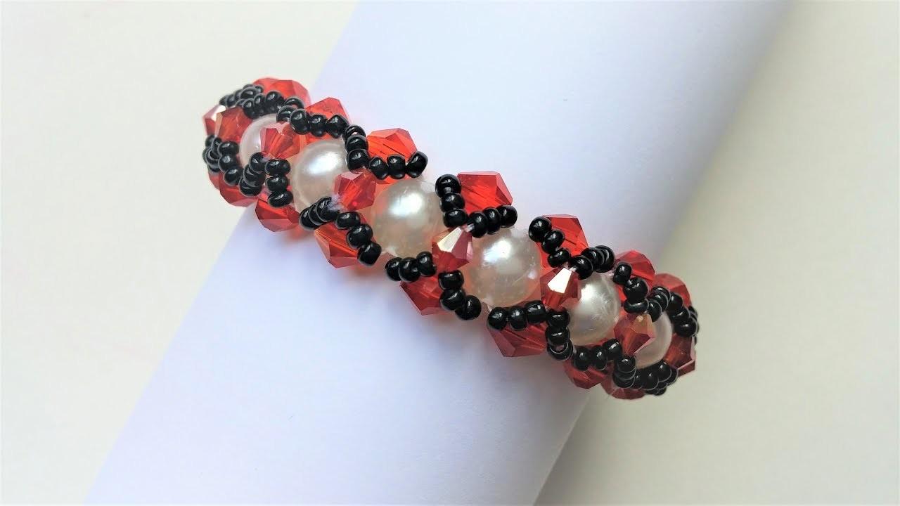 Elegant bracelet . Crystal bicone beads and pearl beads bracelet making