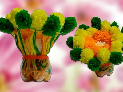 Flower Bouquet | How to Make Flower Bouquet with Plastic Bottle and Woolen