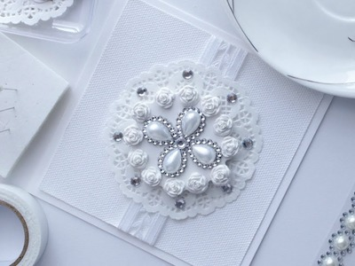 Handmade Wedding card or Wedding invitation Inspiration   Silver & white collection
