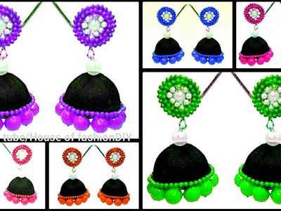 How To Attach Beads To Jumka Base||Customise Jumkas To Your Favorite Colour. !