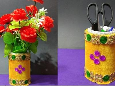 How To Make A Flower Vase || DIY Flower Vase