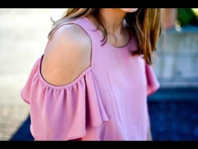 How to Make cold shoulder. off shoulder Ruffles sleeves Easy making DIY ( Hindi version )