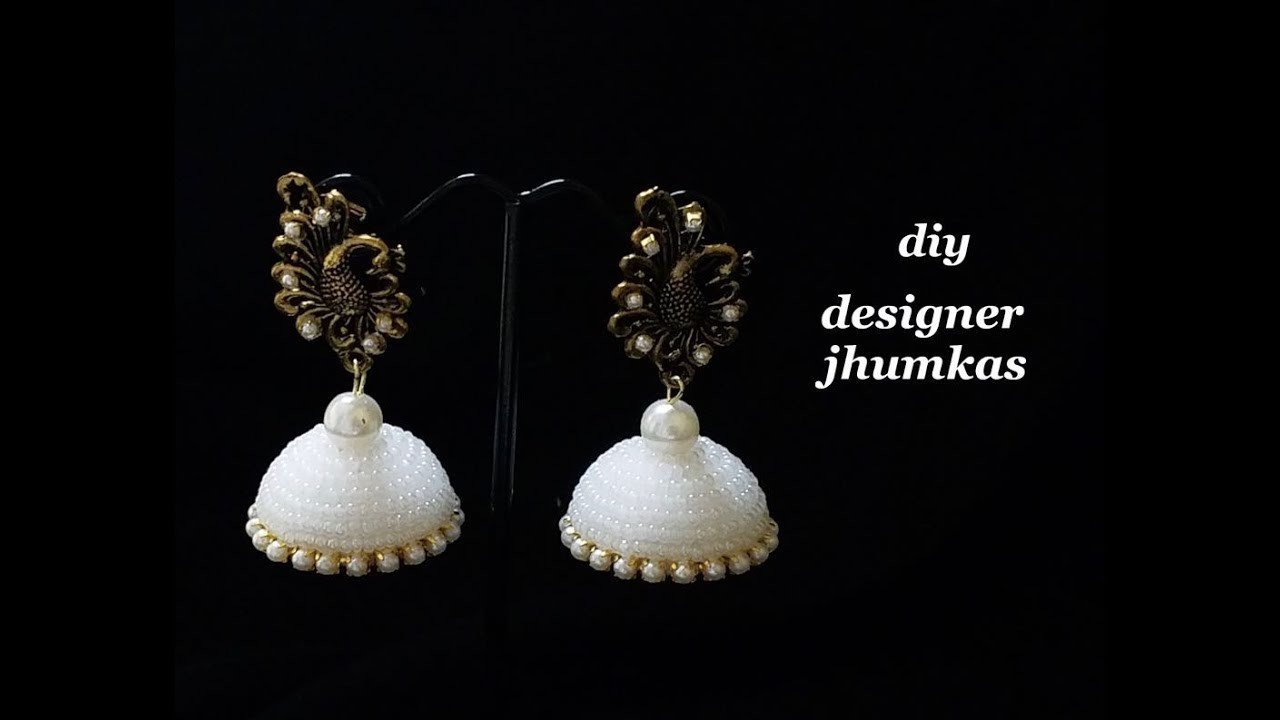 How To Make Designer Jhumka Earrings||Making Jhumkas Using Glass Beads||Tutorial