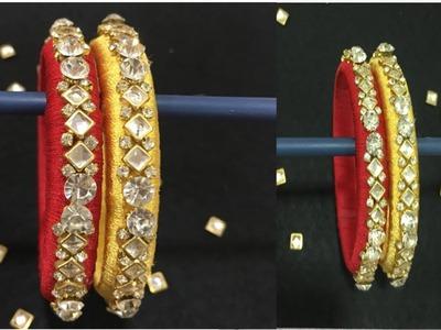How to make silk thread bangles at Home    Bridal Bangles    DIY