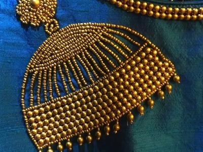 Jhumka design using beads Embroidery