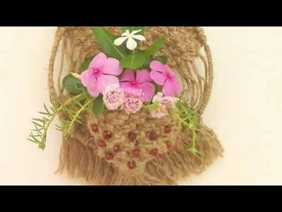 Jute Designer Flower Holder Diy Patterns by Dhanlaxmi Handicraft