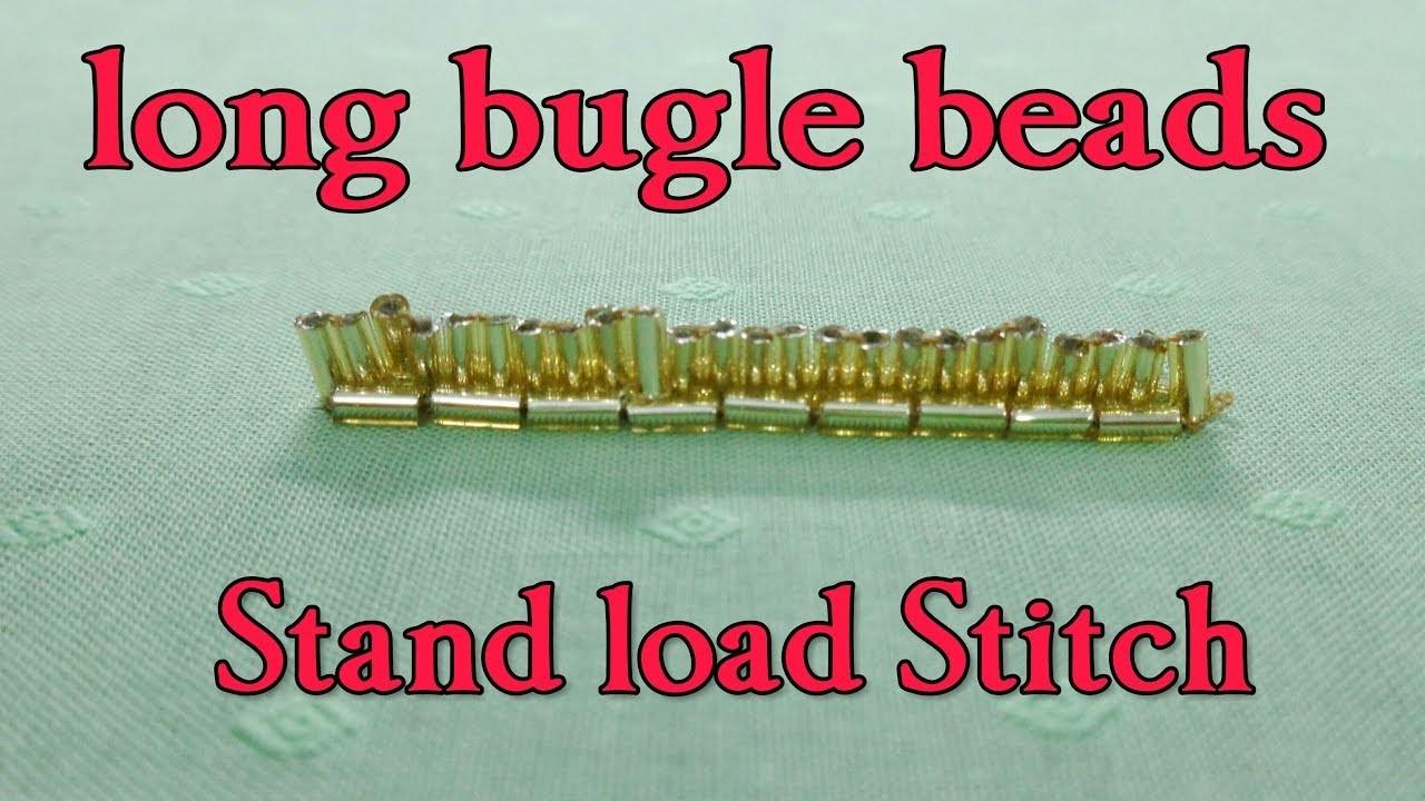 Long bugle beads stand load stitch hand embroidery zari