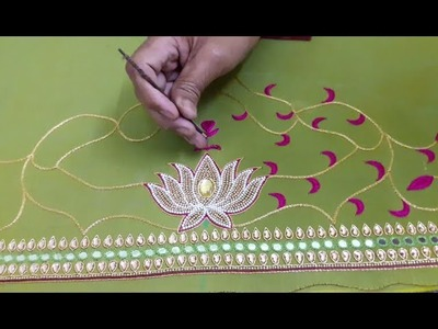 Making of Beautiful Maggam work blouse - Pearls , Beads and Thread work