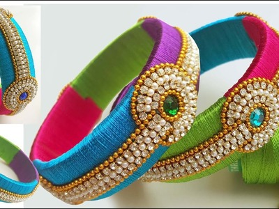 Making of designer silk thread bangles with 4 colors at home. DIY