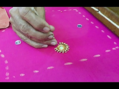 Making of Embroidery Buti with MIRROR and BEADS - Hand embroidery making video