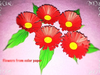 Making of flowers with color papers.Origami easy flower making.decorative flowers