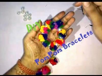 PomPom Bracelet. Bangle   DiY in Hindi   Video #3