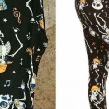 Rock N Roll Dancing Halloween Skull Leggings OS