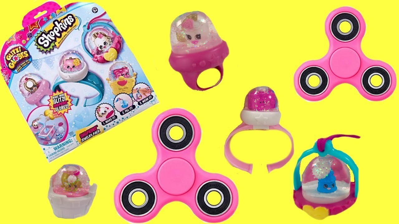 Shopkins Glitzi Globes Ring Necklace DIY Fidget Spinner Toy Surprises | Fizzy Toy Show