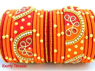 Silk Thread Jewelry | Designer Zardosi Bangle Set | DIY Bridal Bangles | www.knottythreadz.com