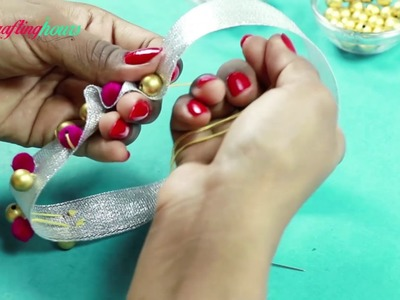 Super Easy and Quick Rakhi Making Idea Using Ribbon & Beads
