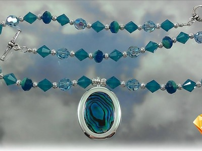 Swarovski Crystal and Glass Beads Necklace with Blue Paua Shell