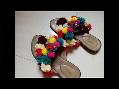 Turn your old sandal to a new one (DIY pom pom sandals)