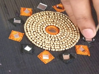 Unique chest piece design for a Kurthi top using beads and mirrors