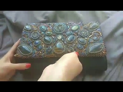 Women's handbag with beads and natural stones. Handmade embroidery