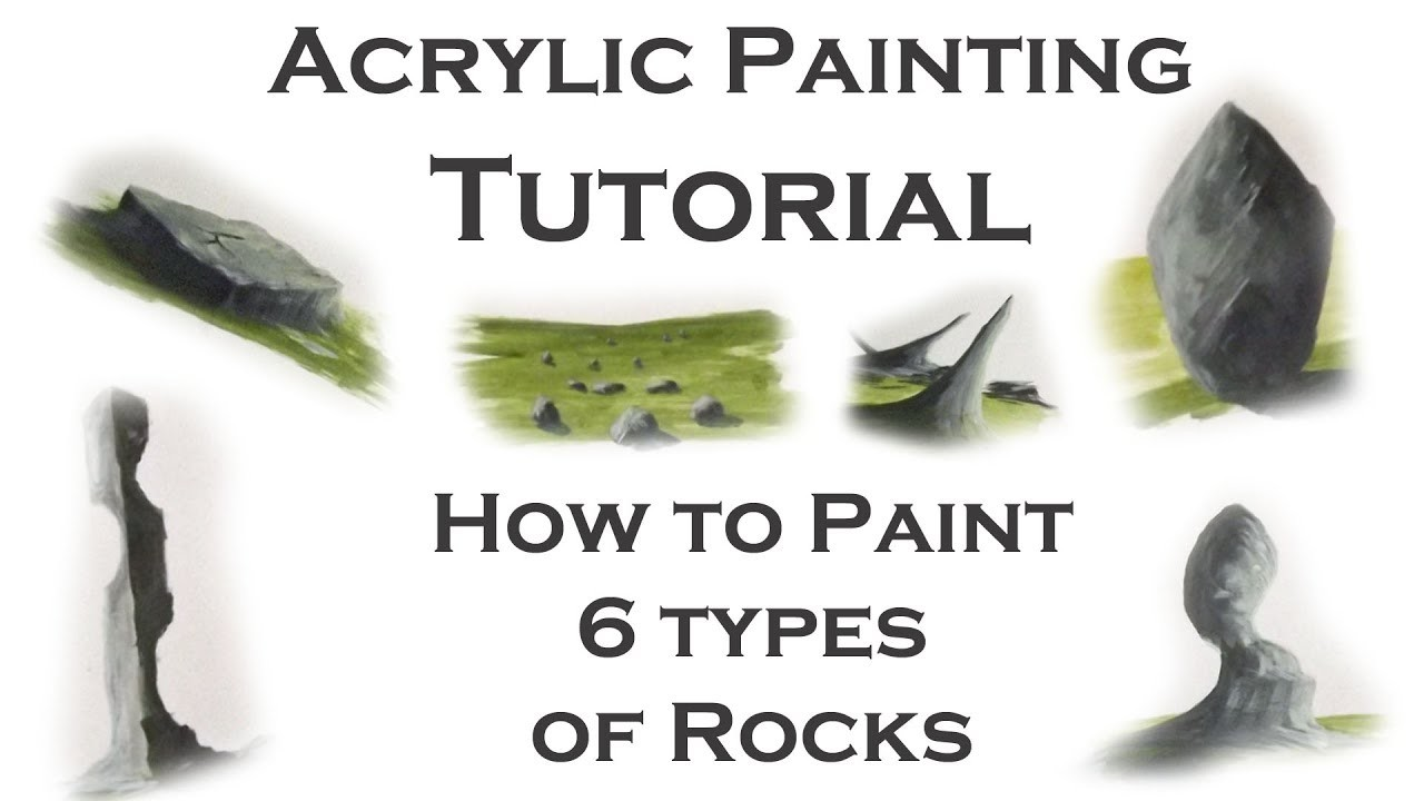 Acrylic painting tutorial how to paint 6 types of rocks for Types of acrylic paint