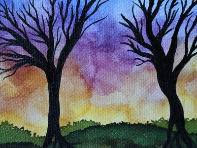 Alcohol Ink Painting Tutorial on Canvas, Sunset With Trees. Learn New Art Techniques!