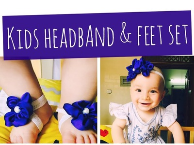 Baby barefoot Sandals and Headband set. DIY. Ribbon-Work