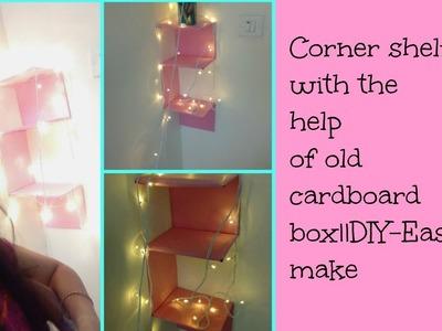 Corner shelf with old cardboard box||make it easy ||DIY