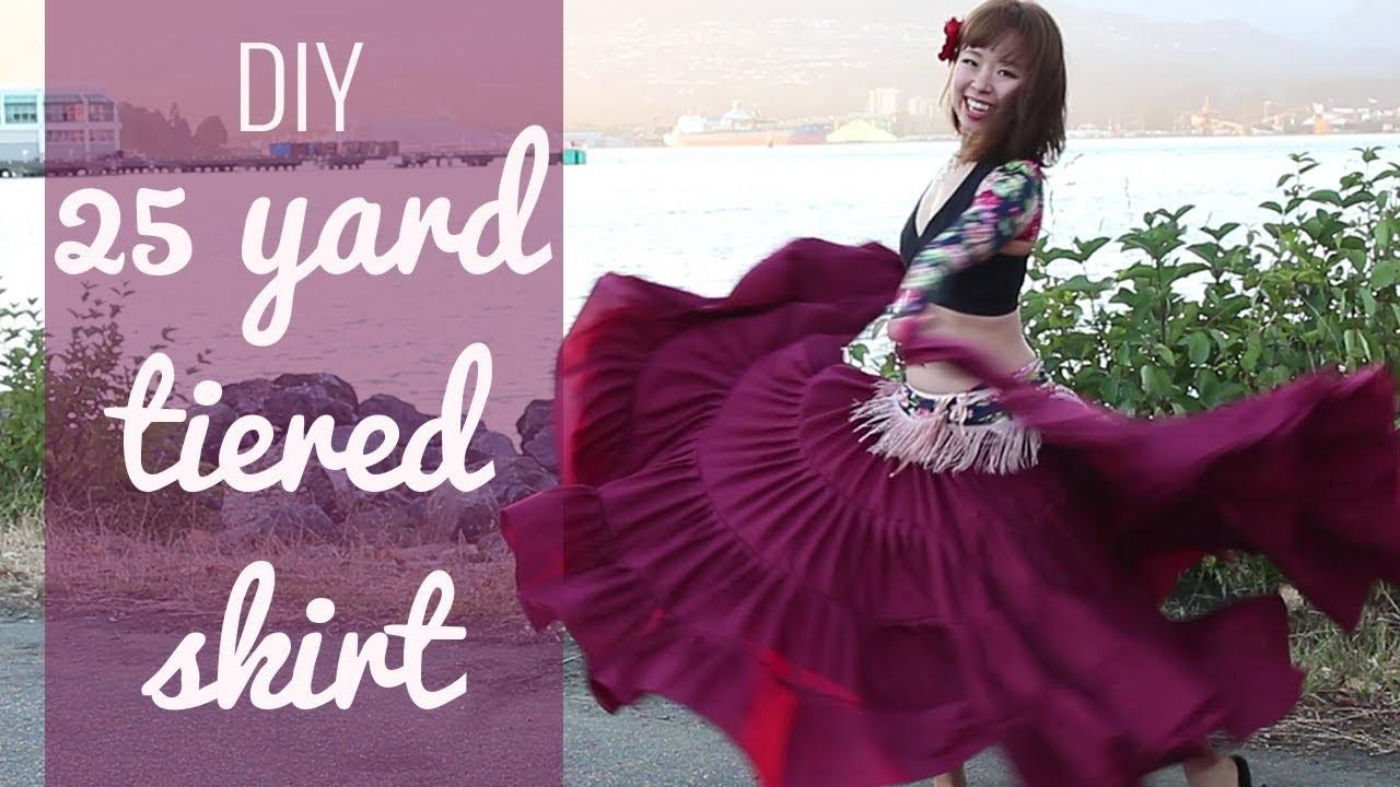 DIY 25 yard skirt - Easy! Gypsy.ATS.belly dancing tiered skirt