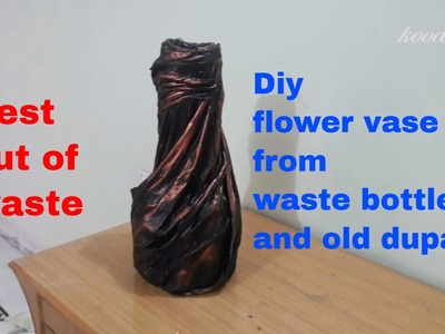 Diy flower vase from waste materials.best out of waste plastic bottle flower vase.diy.koodkala#11