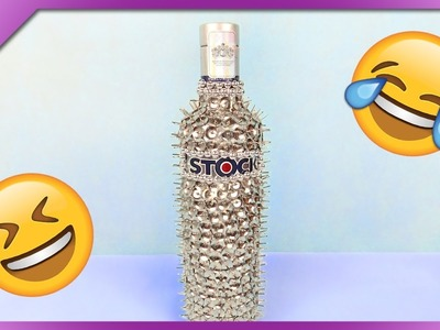 DIY How to make bottle with spikes, funny gift for 18th birthday (ENG Subtitles) - Speed up #376