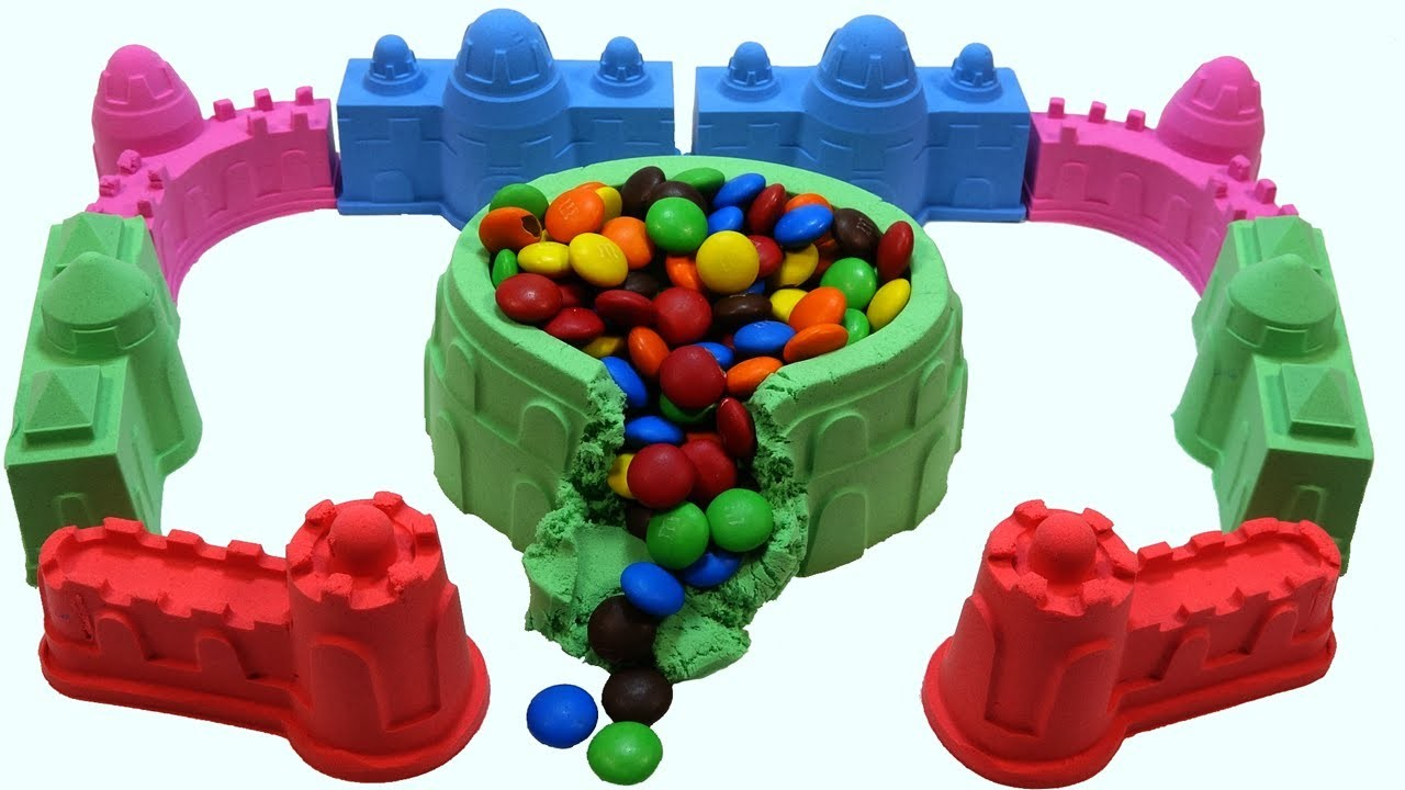 DIY How To Make Kinetic Sand Castle Candy Chocolate M&Ms Mad Mattr Skwooshi Learn Colors