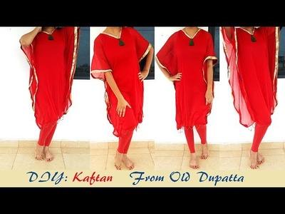 DIY  Kaftan From Old Dupatta, recycle Your Old Dupatta in to Stylish Kaftan